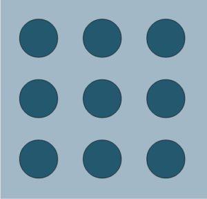 Herausforderung: mit 4 geraden Linien alle Punkte verbinden.