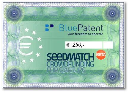 BluePatent verlost Beteiligung in Höhe von 250 Euro