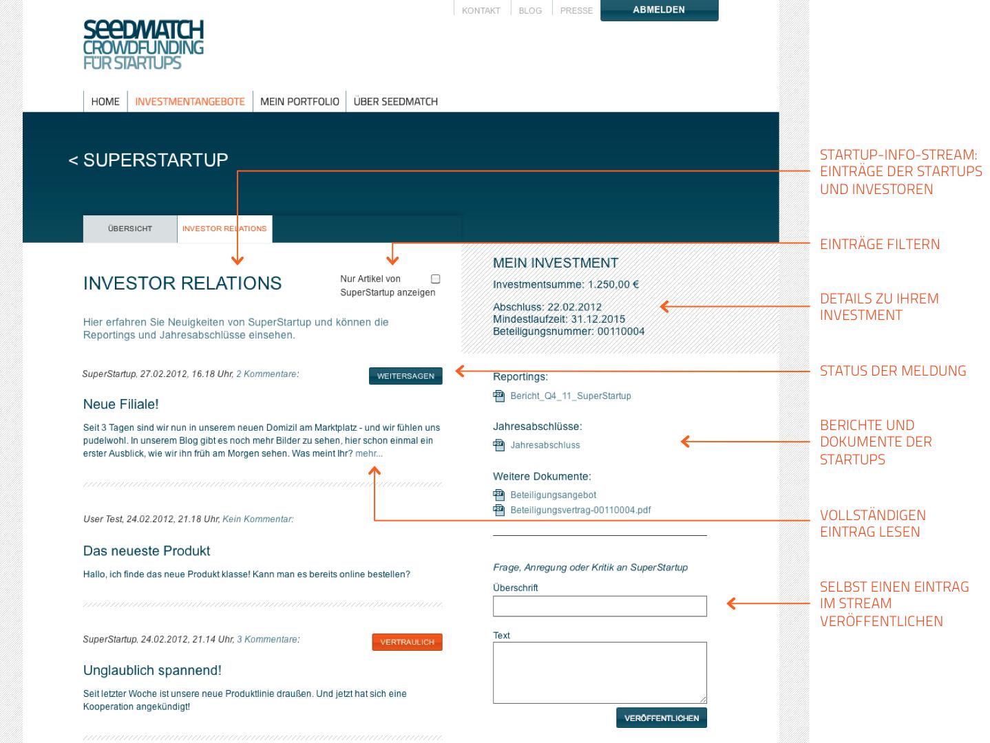 Investor Relations Bereich für Startup-Investoren bei Seedmatch