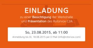 Einladung zur Werksbesichtigung beim Startup Rotorvox