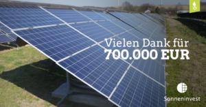 Econeers: Sonneninvest 2 bedankt sich für 700.000 Euro!