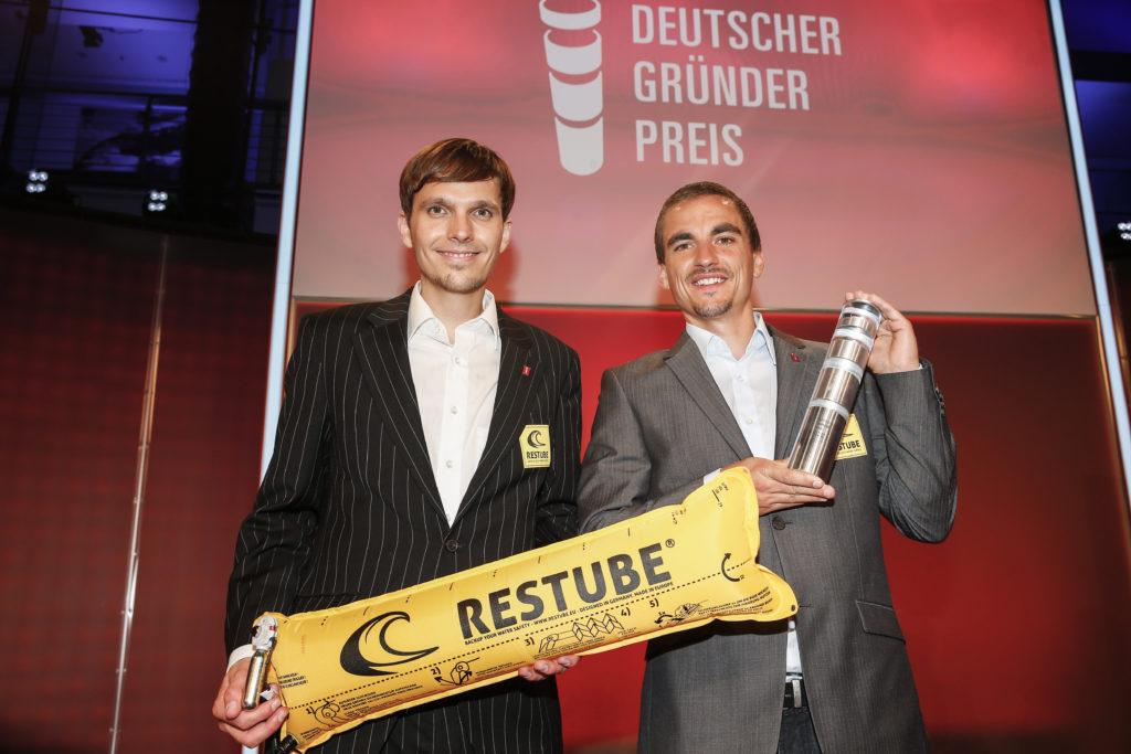 BERLIN, GERMANY - JUNE 30: Christopher Fuhrhop and Marius Kunkis attend the Deutscher Gruenderpreis 2015 on June 30, 2015 in Berlin, Germany. (Photo by Franziska Krug/Getty Images)